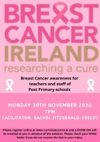 Breast Cancer awareness for teachers and staff of Post Primary Schools - 20LCAU54 (Live Webinar)